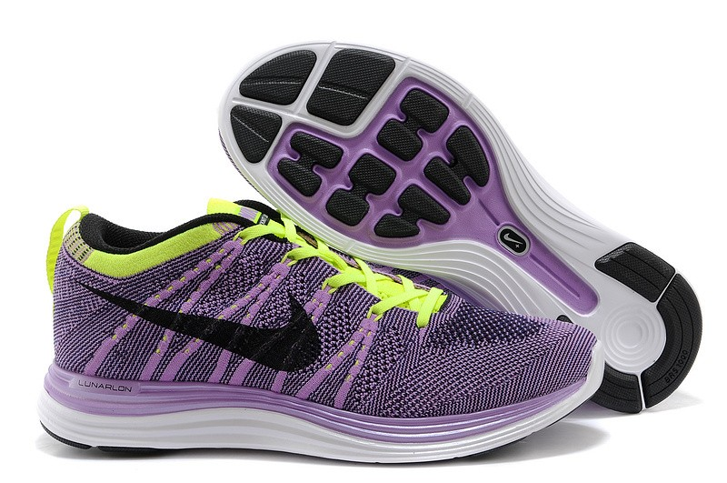Nike Flyknit Lunar 1 Mens Purple Green Running Shoes