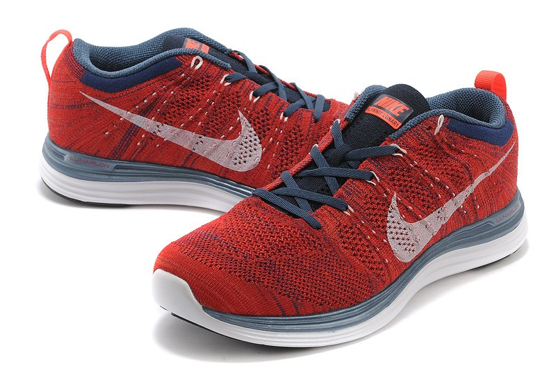 Nike Flyknit Lunar 1 Mens Red Blue Running Shoes