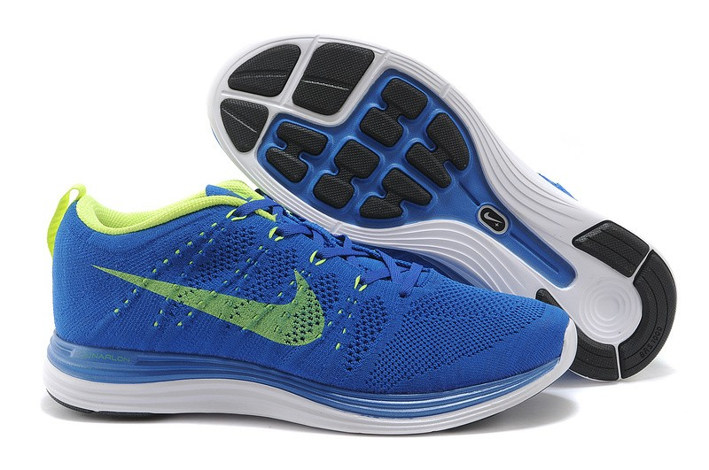 Nike Flyknit Lunar 1 Mens Royalblue Volt Running Shoes