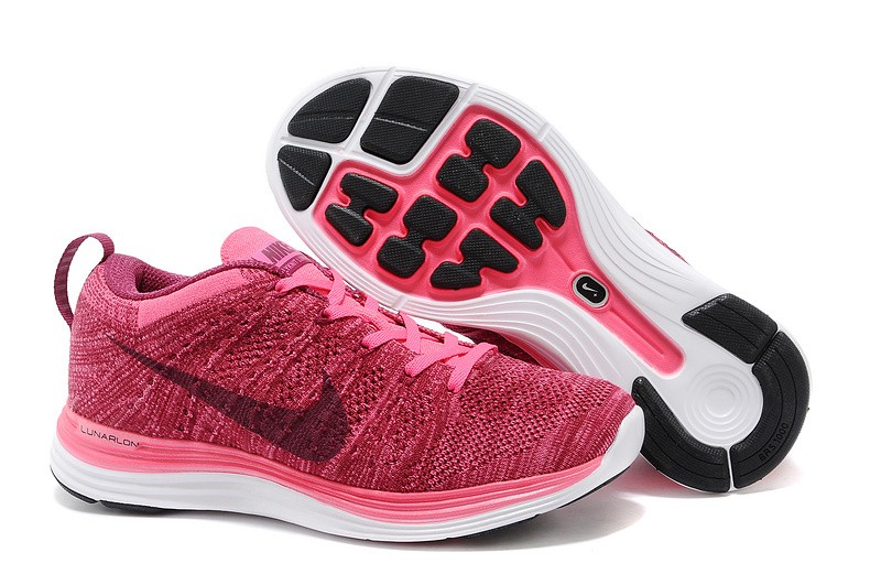 Nike Flyknit Lunar 1 Womens Pink Flash Raspberry Red Running Shoes