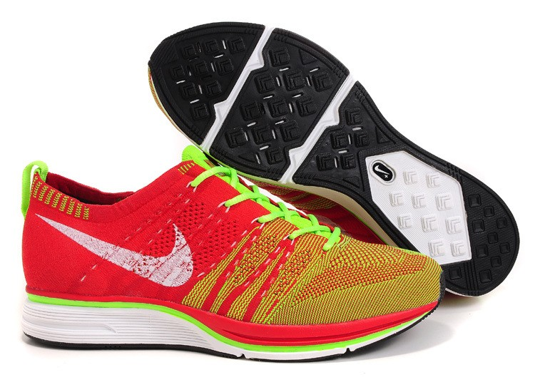 Nike Flyknit Trainer+ Woven Mens Running Shoes Red Green