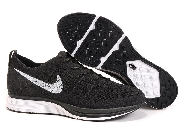 Nike Flyknit Trainer+ Woven Womens Running Shoes Black White