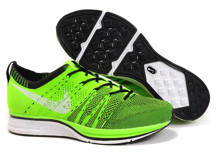 Nike Flyknit Trainer+ Woven Womens Running Shoes Green Black