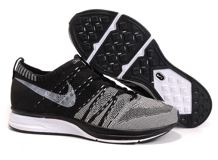 Nike Flyknit Trainer+ Woven Womens Running Shoes Grey Black