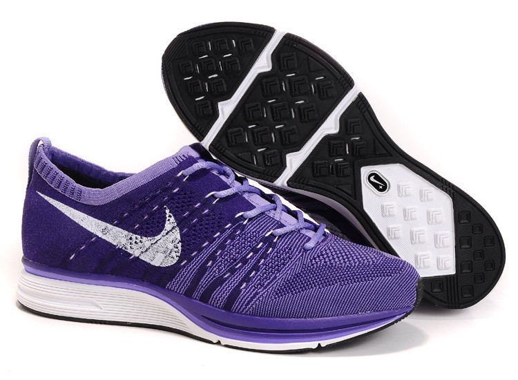 Nike Flyknit Trainer+ Woven Womens Running Shoes Purple White