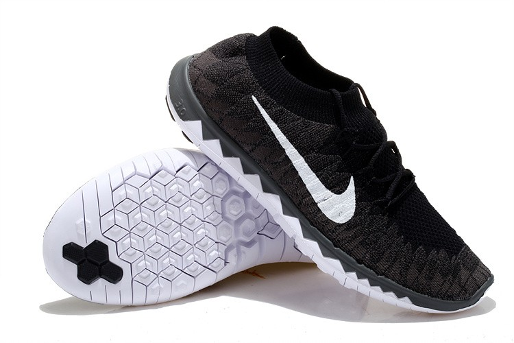 Nike Free 3.0 Flyknit Mens Running Shoes Black Grey