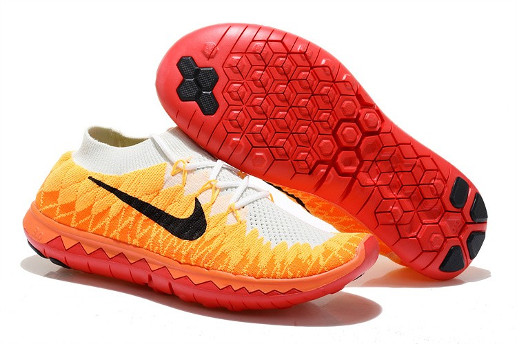 Nike Free 3.0 Flyknit Womens Running Shoes White Yellow Red