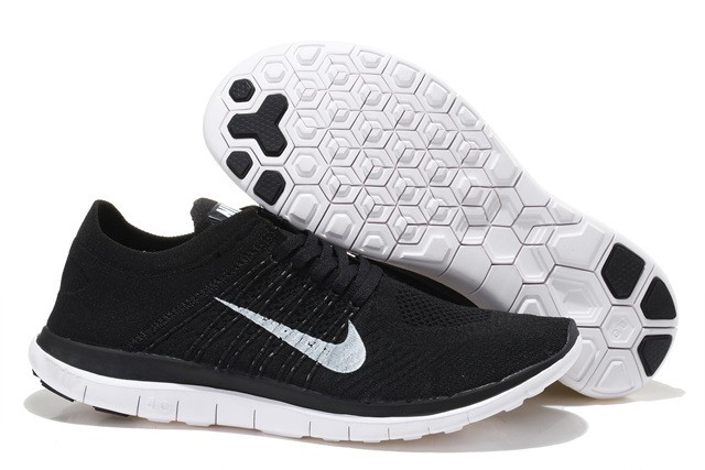Nike Free 4.0 Flyknit Mens Running Shoes Black White