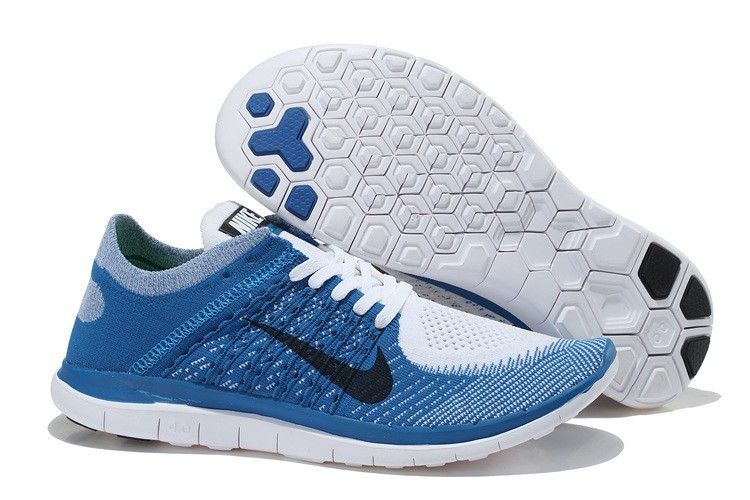 Nike Free 4.0 Flyknit Mens Running Shoes Blue White Black