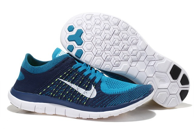Nike Free 4.0 Flyknit Mens Running Shoes Deep Blue Blue White