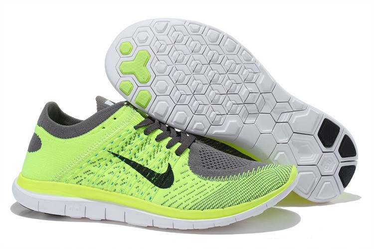 Nike Free 4.0 Flyknit Mens Running Shoes Fluorescent Green Grey