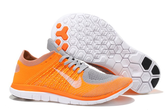 Nike Free 4.0 Flyknit Mens Running Shoes Orange Grey White