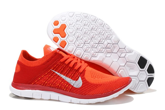 Nike Free 4.0 Flyknit Mens Running Shoes Red Orange White