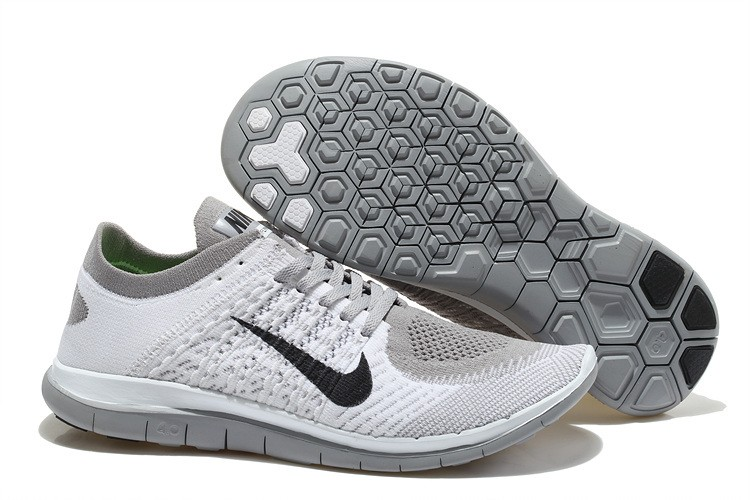 Nike Free 4.0 Flyknit Mens Running Shoes White Grey Black