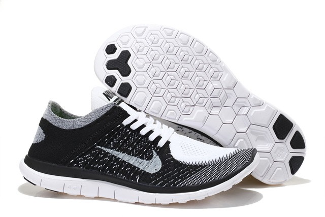 Nike Free 4.0 Flyknit Womens Running Shoes Black Grey White