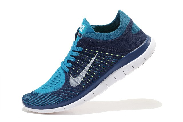 Nike Free 4.0 Flyknit Womens Running Shoes Deep Blue Blue White