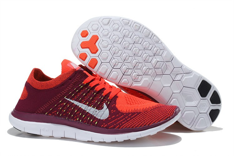Nike Free 4.0 Flyknit Womens Running Shoes Deep Red White