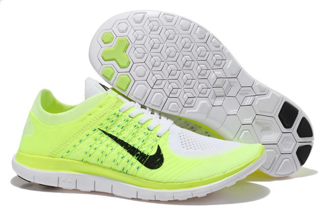 Nike Free 4.0 Flyknit Womens Running Shoes Fluorescent Green White