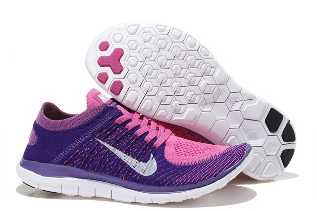 Nike Free 4.0 Flyknit Womens Running Shoes Purple Pink White