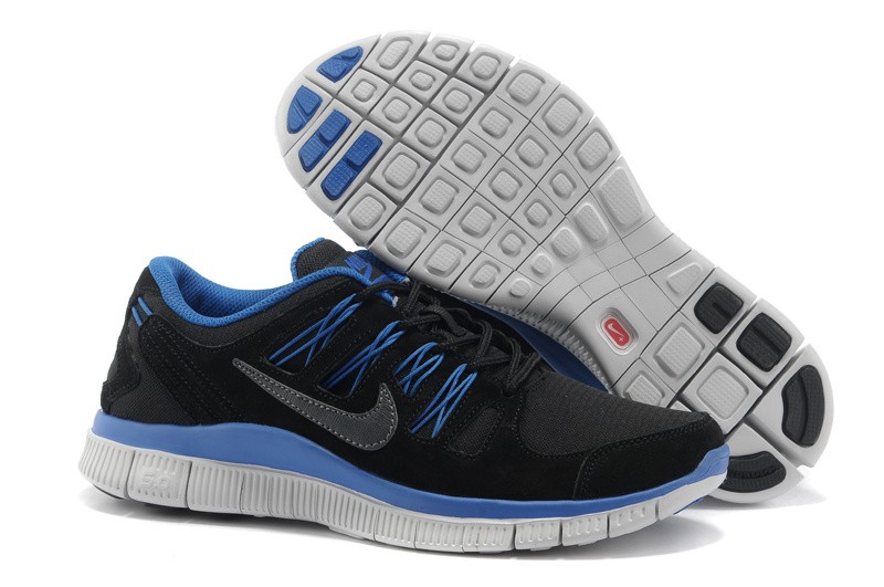 Nike Free 5.0+ Mens Anti-Fur Black Blue Running Shoes