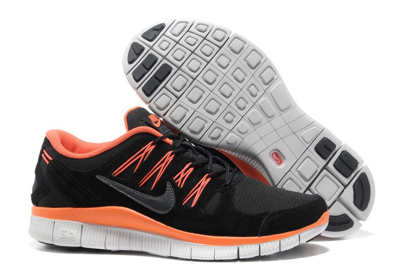 Nike Free 5.0+ Mens Anti-Fur Black Orange Running Shoes