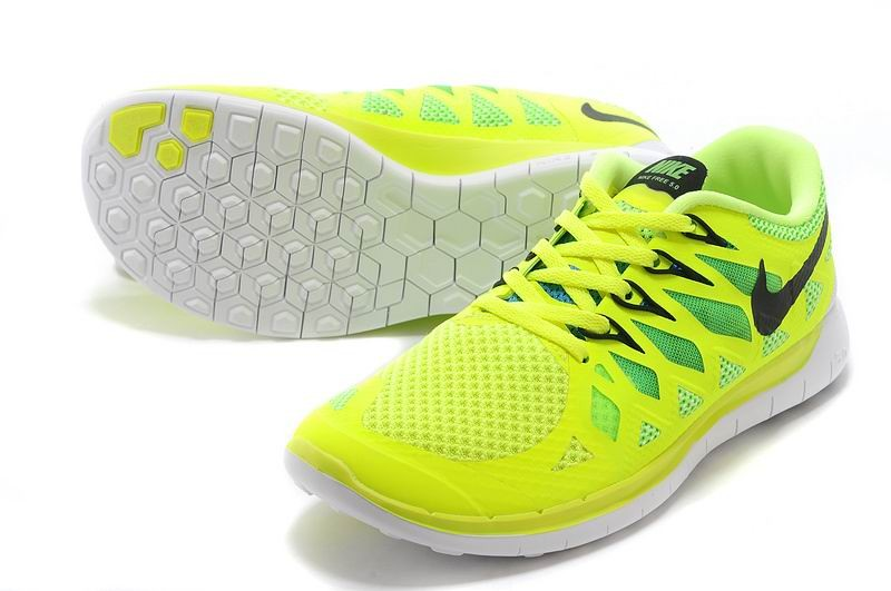 Nike Free 5.0 2014 Men\'s Running Shoe Electric Yellow Black White