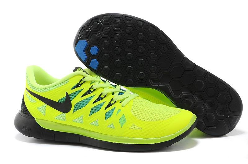 Nike Free 5.0 2014 Men's Running Shoe Volt Black Blue