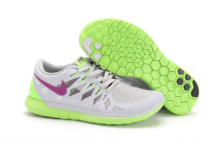 Nike Free 5.0 2014 Women's Running Sneakers Base Grey Bright Grape Volt