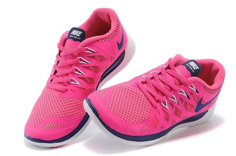 Nike Free 5.0 2014 Women\'s Running Sneakers Hot Pink Navy Blue