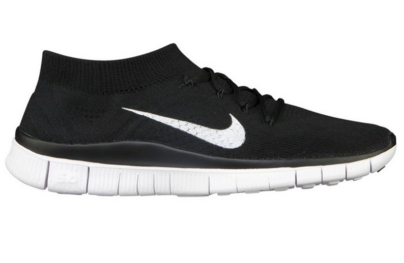Nike Free 5.0 Flyknit Mens Running Shoes Black White