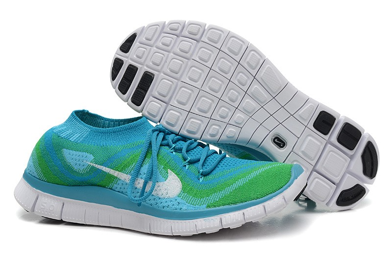 Nike Free 5.0 Flyknit Mens Running Shoes Blue Green