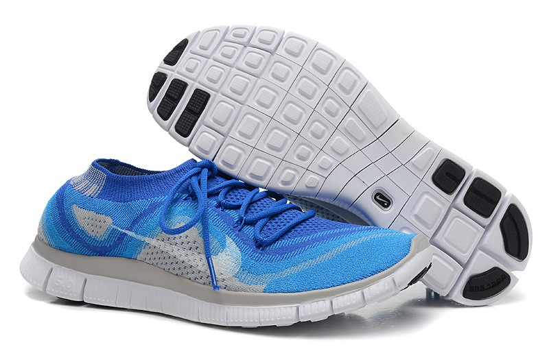 Nike Free 5.0 Flyknit Mens Running Shoes Blue Grey