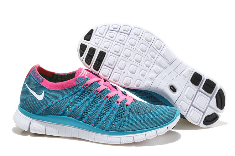 Nike Free 5.0 Flyknit Mens Running Shoes Blue Pink White