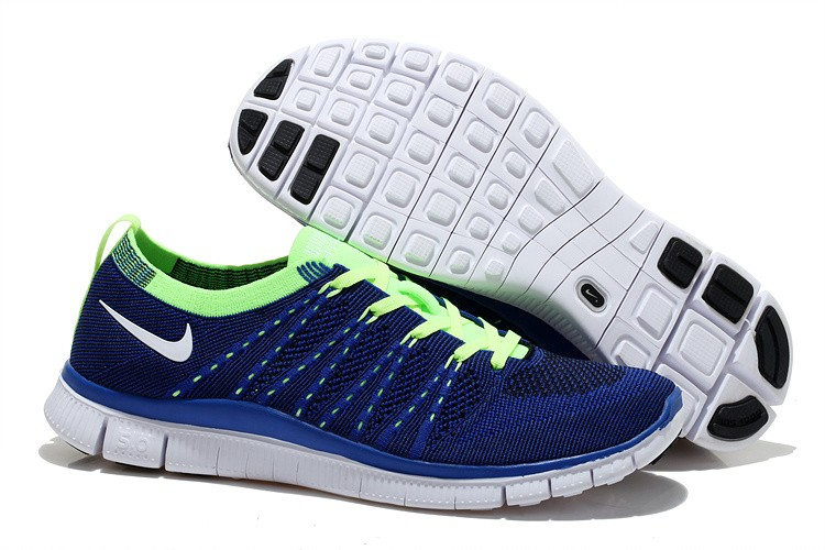 Nike Free 5.0 Flyknit Mens Running Shoes Deep Blue Fluorescent Green