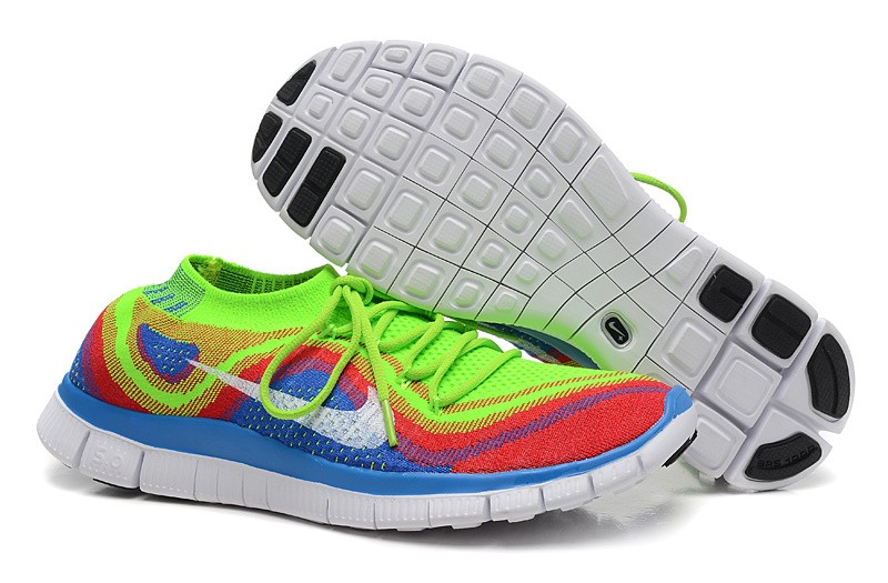 Nike Free 5.0 Flyknit Mens Running Shoes Fluorescent Green Blue