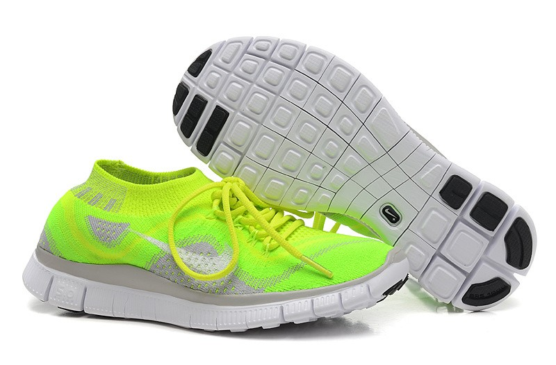 Nike Free 5.0 Flyknit Mens Running Shoes Fluorescent Green Grey