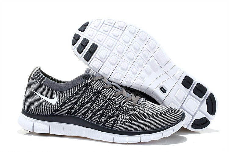 Nike Free 5.0 Flyknit Mens Running Shoes Grey Black White