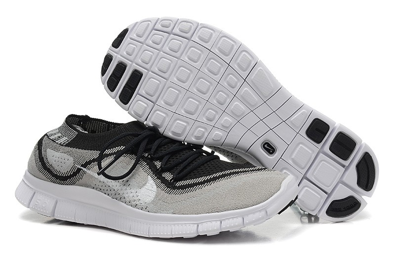 Nike Free 5.0 Flyknit Mens Running Shoes Grey Black