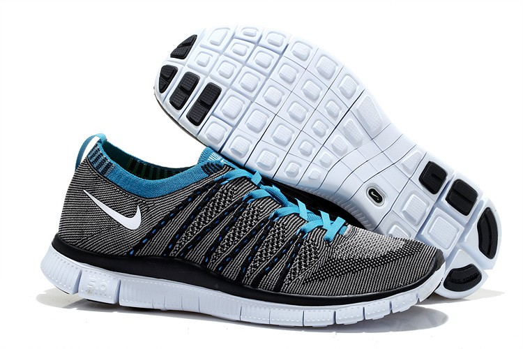 Nike Free 5.0 Flyknit Mens Running Shoes Grey Blue Black White