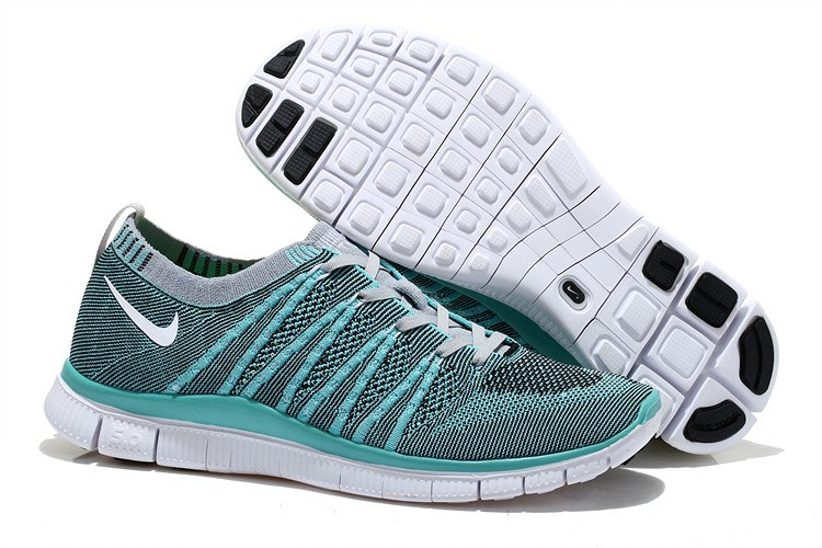 Nike Free 5.0 Flyknit Mens Running Shoes Grey Jade White