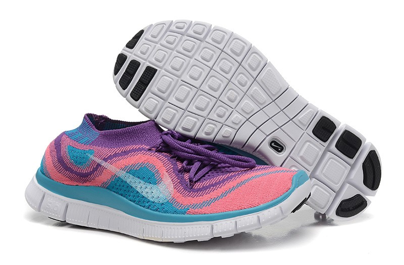 Nike Free 5.0 Flyknit Mens Running Shoes Purple Pink Jade