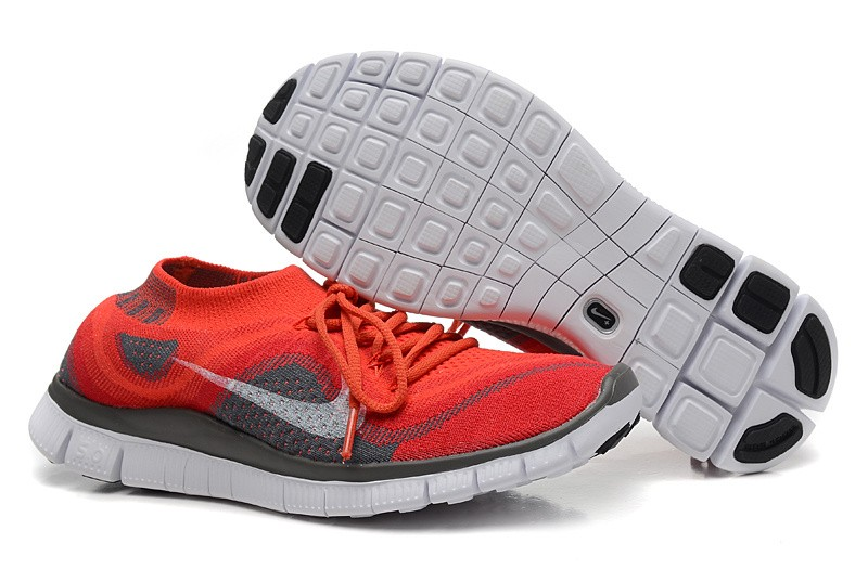 Nike Free 5.0 Flyknit Mens Running Shoes Red Grey