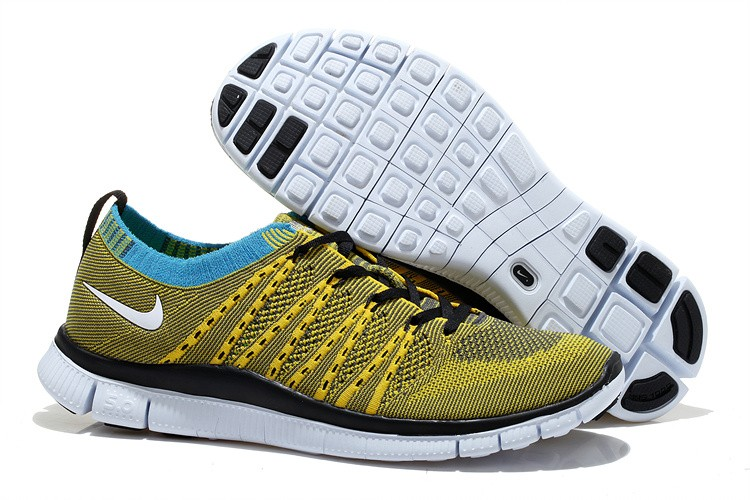 Nike Free 5.0 Flyknit Mens Running Shoes Yellow Black White