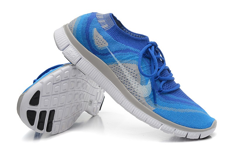 Nike Free 5.0 Flyknit Womens Running Shoes Blue Grey