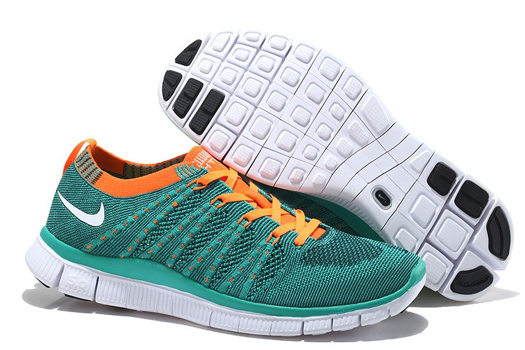 Nike Free 5.0 Flyknit Womens Running Shoes Blue Orange White