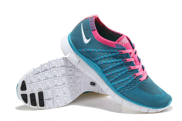 Nike Free 5.0 Flyknit Womens Running Shoes Blue Pink White
