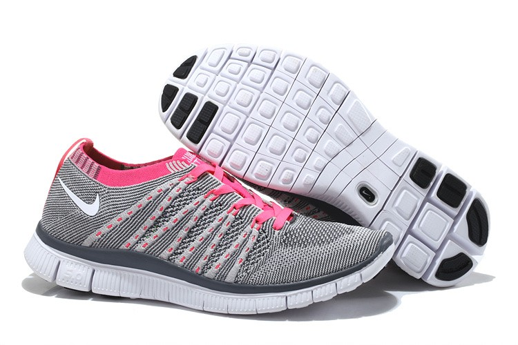 Nike Free 5.0 Flyknit Womens Running Shoes Grey Pink White