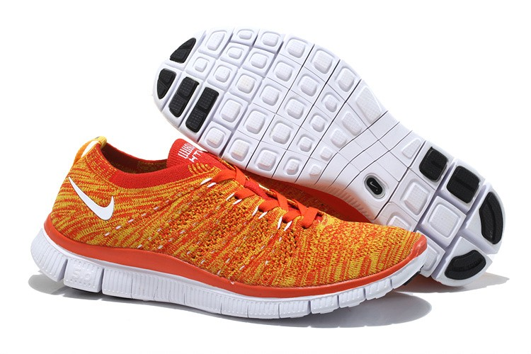 Nike Free 5.0 Flyknit Womens Running Shoes Orange White