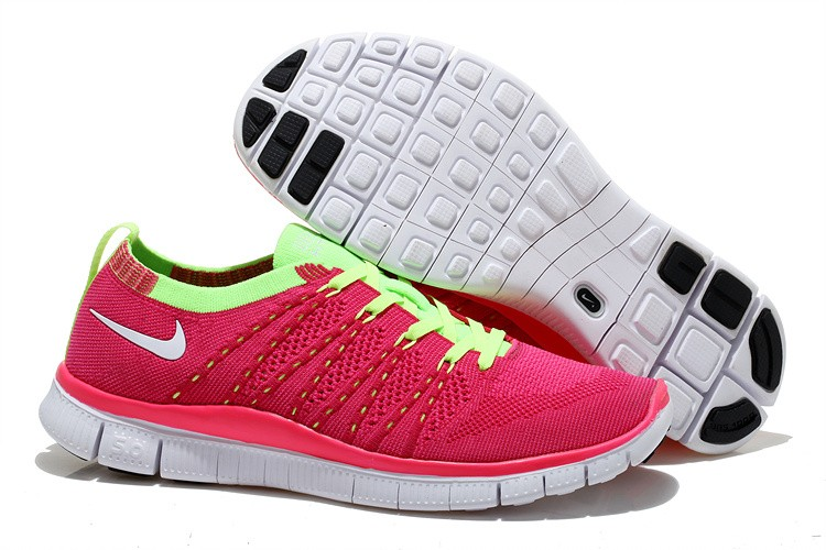 Nike Free 5.0 Flyknit Womens Running Shoes Pink Fluorescent Green White
