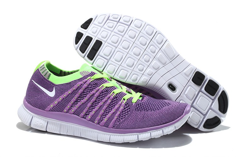 Nike Free 5.0 Flyknit Womens Running Shoes Purple Fluorescent Green White